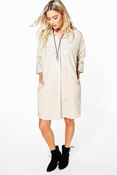 Boohoo Short Sleeved Oversized Shirt Dress Beige