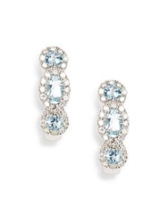 Effy Aquamarine Diamond And 14K White Gold Earrings