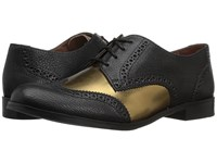 Cole Haan Jagger Wing Oxford Black Gold Leather Women's Shoes