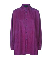 Eskandar A Line Suede Shirt Female Purple