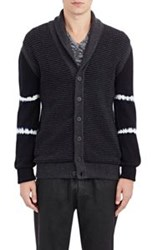 Tomas Maier Mixed Knit Cardigan Blue