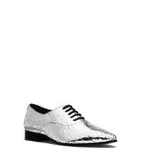 Michael Kors Lottie Metallic Crackled Leather Oxford Silver