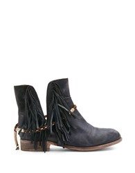 Matisse Voyager Leather Fringe Ankle Boots Black