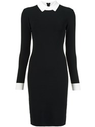 Paule Ka Contrasting Collar And Cuffs Dress Black