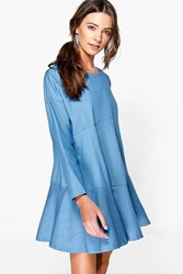 Boohoo Tiered Chambray Smock Dress Blue