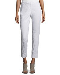 Elie Tahari Marcia Slim Leg Linen Blend Cropped Pants White Gray Women's Wht Grey