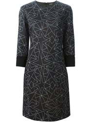 Neil Barrett Geometric Print Shift Dress Black