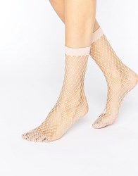 Asos Oversized Fishnet Ankle Socks Pink