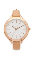 Michael Kors Leather Slim Runway Watch Rose Gold Brown
