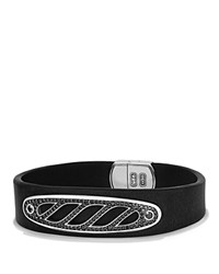 David Yurman Graphic Cable Leather Id Bracelet In Black With Black Diamonds