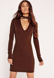 Missguided Tie Neck V Front Bodycon Dress Brown Brown