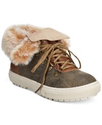 Sporto Snug Lace Up Faux Fur Cold Weather Sneakers Women's Shoes Stone