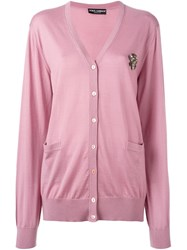 Dolce And Gabbana Embellished Bee Cardigan Pink Purple