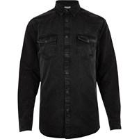 River Island Mens Black Distressed Western Denim Shirt