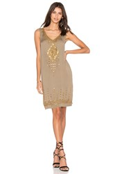 Twelfth St. By Cynthia Vincent Beaded Motif Tank Dress Olive