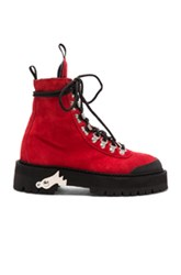 Off White Fwrd Exclusive Suede Hiking Boots In Red