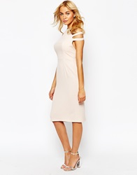 Love Pleated Pencil Dress With Cut Out Shoulder Nude