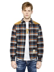 Dsquared Plaid Cotton Flannel And Nylon Jacket Blue