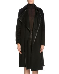 Tom Ford Leather Trimmed Cashmere Coat Black