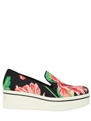 Stella Mccartney 60Mm Floral Print Canvas Wedge Sneakers
