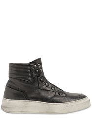 Bruno Bordese Snap Button Leather High Top Sneakers Black