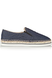 Jimmy Choo Textured Denim Espadrille Slip On Sneakers Blue
