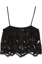 Miguelina Chandler Cropped Crochet Knit Cotton Top Black