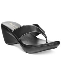 Athena Alexander By Callisto Abby Thong Wedge Sandals Women's Shoes Black