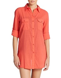 Lauren Ralph Lauren Cotton Camp Shirt Tunic Coral
