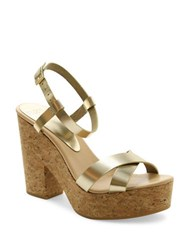 Andre Assous Finnley Leather Platform Sandals Gold