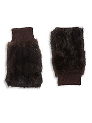 Jocelyn Fingerless Fur Gloves Brown