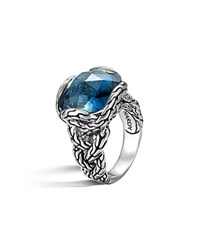 John Hardy Sterling Silver Classic Chain Medium Braided Ring With London Blue Topaz Silver Blue