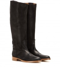 Rag And Bone Holly Riding Suede Knee High Boots Black