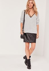 Missguided V Neck Slouch Basic Jumper Grey