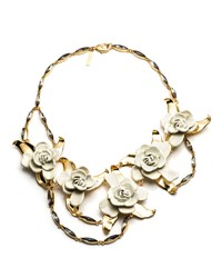 Aerin Gardenia Flower Bib Necklace Gold