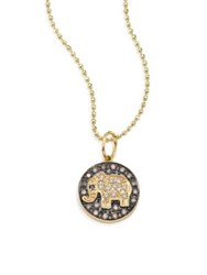 Sydney Evan Small Elephant Diamond And 14K Yellow Gold Medallion Necklace