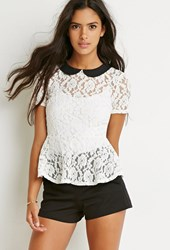 Forever 21 Floral Lace Peplum Top