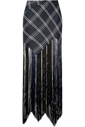 Proenza Schouler Fringed Plaid Basketweave Canvas Maxi Skirt
