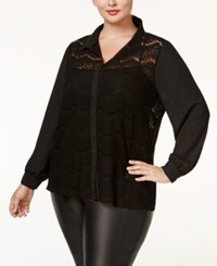 Standards And Practices Trendy Plus Size Lace Blouse Black