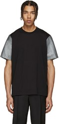 Paul Smith Black And Silver Panelled T Shirt