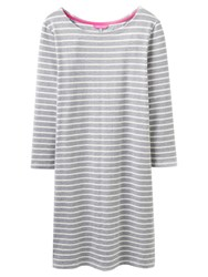 Joules Riviera 3 4 Sleeve Jersey T Shirt Dress Grey Stripe
