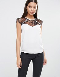 Lipsy Cross Front Lace Insert Blouse White Black