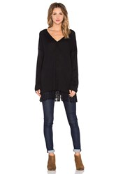 525 America Fringe Poncho Long Sleeve Top Black
