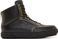 Alejandro Ingelmo Black Leather Gold Trimmed Jeddi High Tops