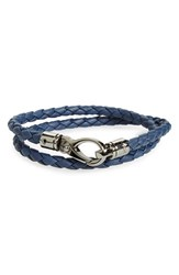 Men's Tod's Double Wrap Braided Leather Bracelet