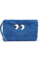 Anya Hindmarch Ghost Leather Trimmed Shearling Pouch Blue