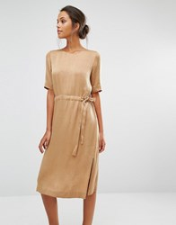 Selected Chari Tie Dress Toasted Coconut Tan