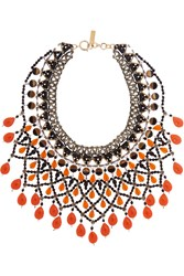 Etro Gold Plated Bead And Swarovski Crystal Necklace