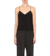 Whistles Floral Lace Cami Top Black