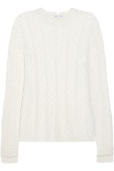Agnona Cable Knit Cashmere Blend Sweater White